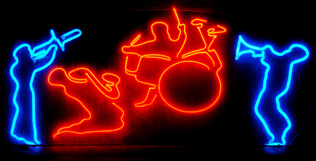 Neon jazz sign, jazz band